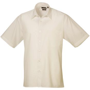 Textiel Heren Overhemden korte mouwen Premier Poplin Natuurlijk