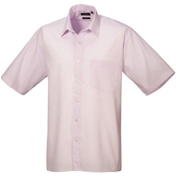 Textiel Heren Overhemden korte mouwen Premier Poplin Roze