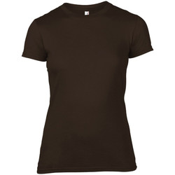 Textiel Dames T-shirts korte mouwen Anvil 379 Chocolade
