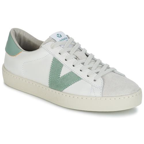 Schoenen Heren Lage sneakers Victoria BERLIN PIEL CONTRASTE Wit / Groen