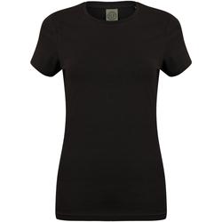 Textiel Dames T-shirts korte mouwen Skinni Fit Stretch Zwart