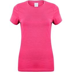 Textiel Dames T-shirts korte mouwen Skinni Fit Stretch Fuchsia