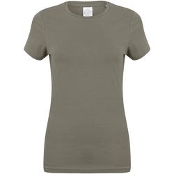 Textiel Dames T-shirts korte mouwen Skinni Fit Stretch Khaki