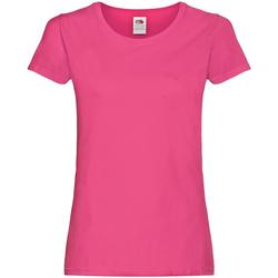 Textiel Dames T-shirts korte mouwen Fruit Of The Loom 61420 Fuchsia