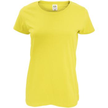 Textiel Dames T-shirts korte mouwen Fruit Of The Loom 61420 Geel