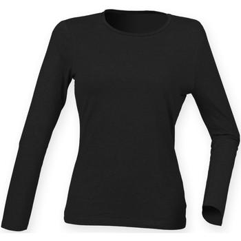 Textiel Dames T-shirts met lange mouwen Skinni Fit SK124 Zwart