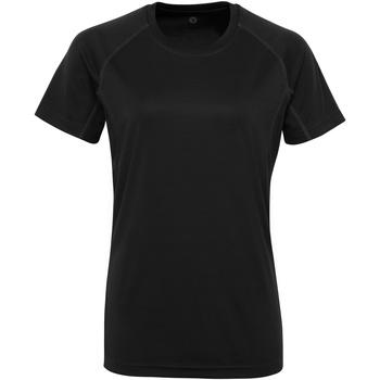 Textiel Dames T-shirts korte mouwen Tridri Panelled Zwart